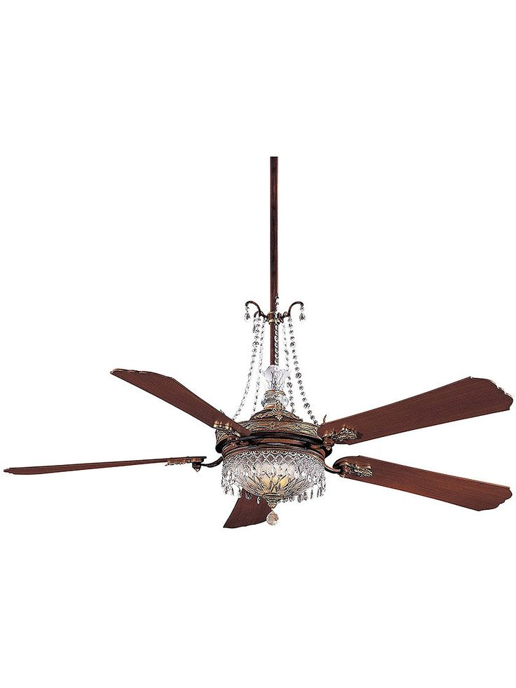 "Vintage Ceiling Fans. Cristafano 68"" Deluxe Crystal Ceiling Fan With Dark Walnut Blades -- maybe for the kitchen/informal dining area"