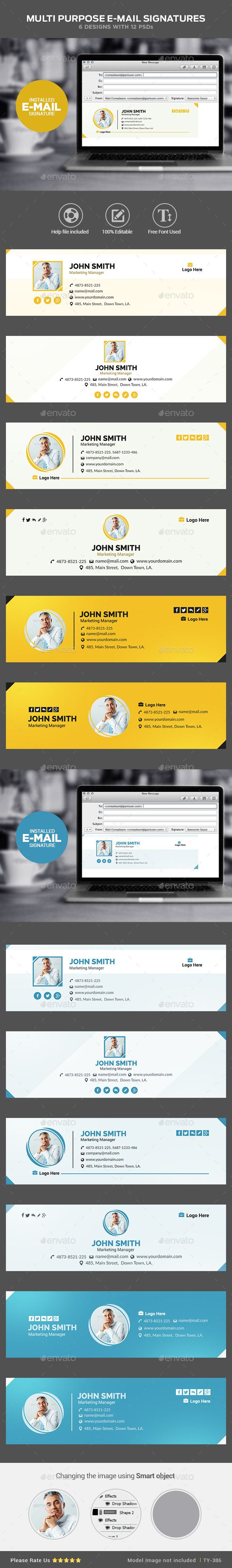 Multi Purpose Email Signature Templates by doto Email Signature Templates Clean & Professional Design Multipurpose Use Completely editable Easily customizable PSD Templates
