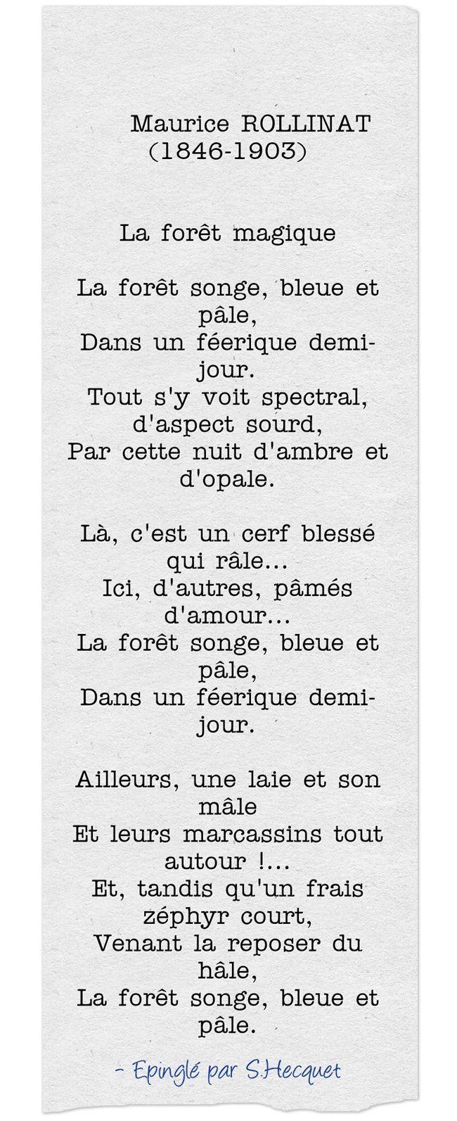 nice Citation Maurice ROLLINAT 1846 1903 La forªt magique La forªt songe