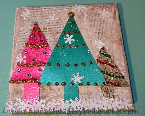 Canvas de Navidad Mixed Media, tutorial scrapbooking de BeCreativeScrap para MYBA.