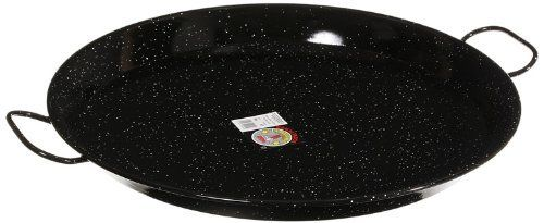 Garcima 20-Inch Enameled Steel Paella Pan, 50cm by La Paella, LLC.. $53.00. Enameled steel that is easy maintenance. Ideal for serving 6 to 10 people.. Authentic paella pan. made in spain.. Durable pan safe for stovetop, oven or grill. The pan comes with an informative pamphlet that contains two recipes, tips for perfect paella, and care instructions.. Serves 6 to 10 people. This size usually fits over two standard burners. Enameled pans offer convenience and value, ...