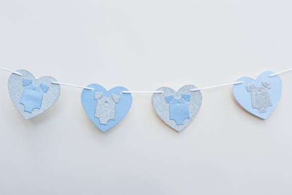new baby boy bunting baby shower banner blue and silver vests on