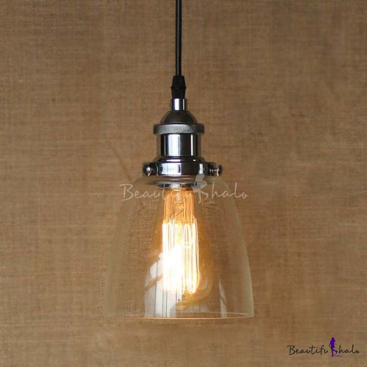Industrial Style Clear Glass Shade Mini Foyer Pendant in Chrome 5'' Wide