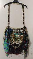 Handmade Vintage Fabric Lace Fringe Bag Festival Gypsy  Hobo hippie Purse