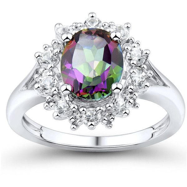 Genuine Mystic Fire Topaz and Lab-Created White Sapphire Ring ($112) ❤ liked on Polyvore featuring jewelry, rings, topaz ring, round ring, oval ring, sparkle jewelry and topaz jewelry