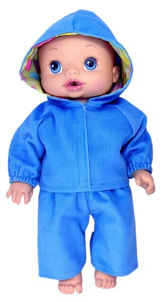 This hoodie and pant set is made from pinwale cord and the hood has a contrasting lining.  There is elastic at top of pants, around sleeves and at the back of the hoodie. A Velcro strip fastens at the front.   Some of the images show a light blue set being worn by my Little Baby Born and Little Baby Alive.  This set is no longer available - hoodie and long pants are a dark blue colour.