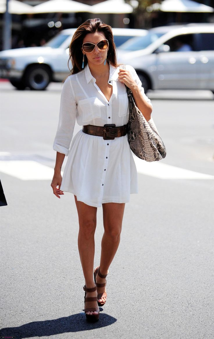 Casual flowy white dress fashion style 2015 - Easy Summer Look White Shirt Dress With A Belt Wedges