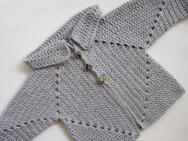 Sue's No Hole's Hexagon Baby Sweater Free Crochet Pattern