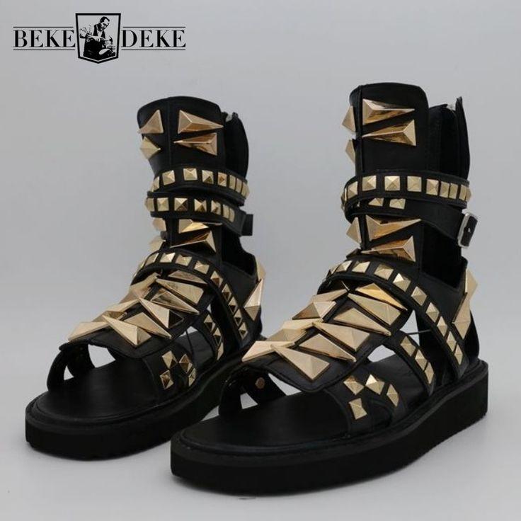 Mens Gladiator Sandals Hollow Platform Rivets Punk Sandals Genuine Leather Summer Ankle Boots Plus Size Black Beach Sandals
