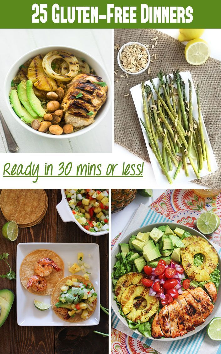 """Gluten free meals for kids """"25 Gluten-Free Dinner Recipes Ready in Under 30 minutes! thehealthymaven.com #glutenfree"""""""