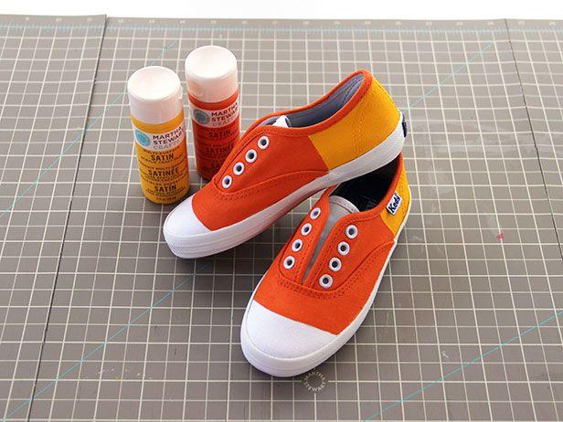 Candy Corn Kicks >> http://blog.diynetwork.com/maderemade/2013/10/04/make-mother-daughter-not-so-spooky-kicks-for-halloween?soc=pinterest