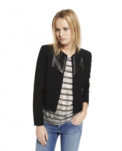 Cropped jacket with round neck with leather and military buttons - Woman - New Collection - The Kooples