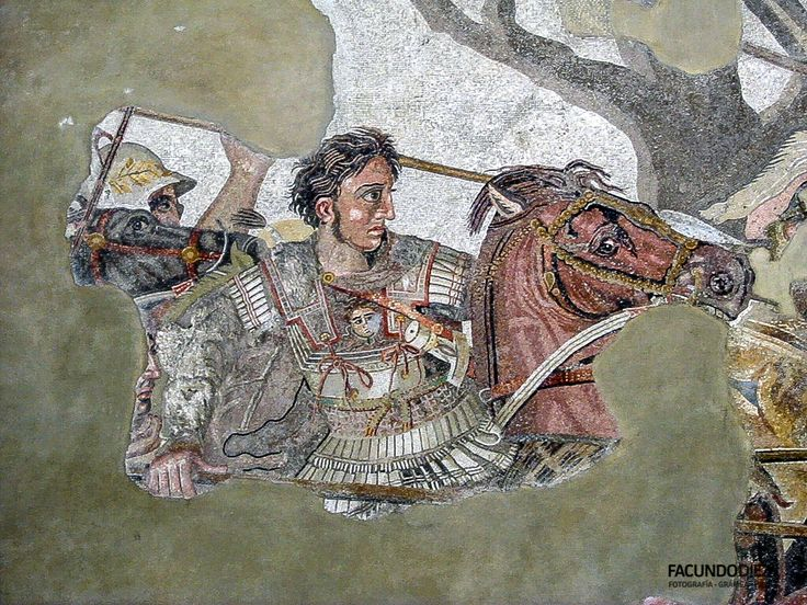 The Alexander Mosaic, dating from circa 100 BC, is a Roman floor mosaic originally from the House of the Faun in Pompeii. The original is preserved in the Naples National Archaeological Museum. The mosaic is believed to be a copy of an early 3rd century BC Hellenistic painting, possibly by Philoxenos of Eretria.
