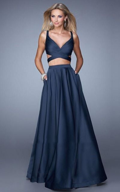 Satin V-neck Empire A-line Floor-length Formal Dresses abbb1025