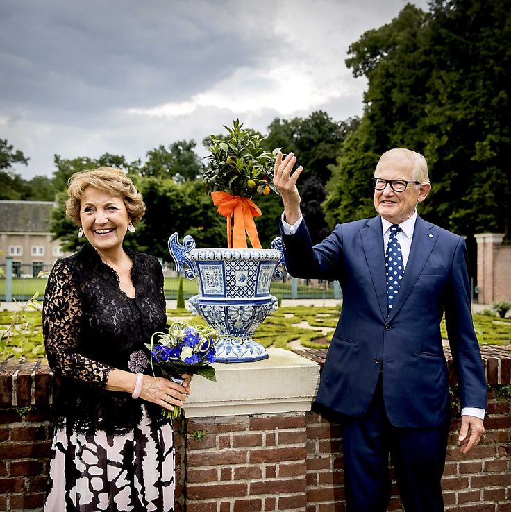 Princess Margriet and her husband at the opening of the exhibition Blauw en Bont at the Palace Het Loo. 17 June 2016.
