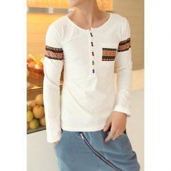 $11.82 Round Neck Colorful Buttons Long Sleeves Polyester T-Shirt