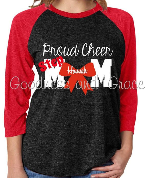 Proud Cheer Mom OR Proud Cheer Stepmom Shirt or Raglan - Football Tee - Cheer Squad, Seniors, Cheerleader Monogram, I love my cheerleader