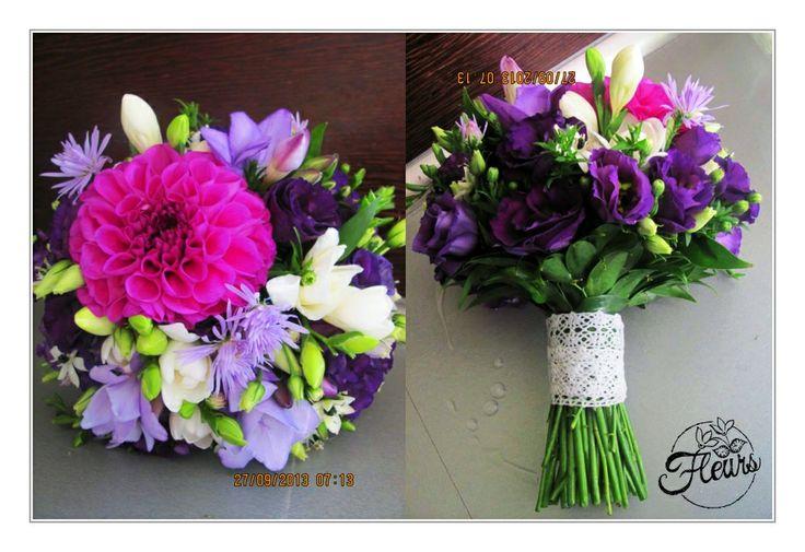 Svatební kytice s jiřinou / Květiny Fleurs #wedding #flower #purple #dahlia