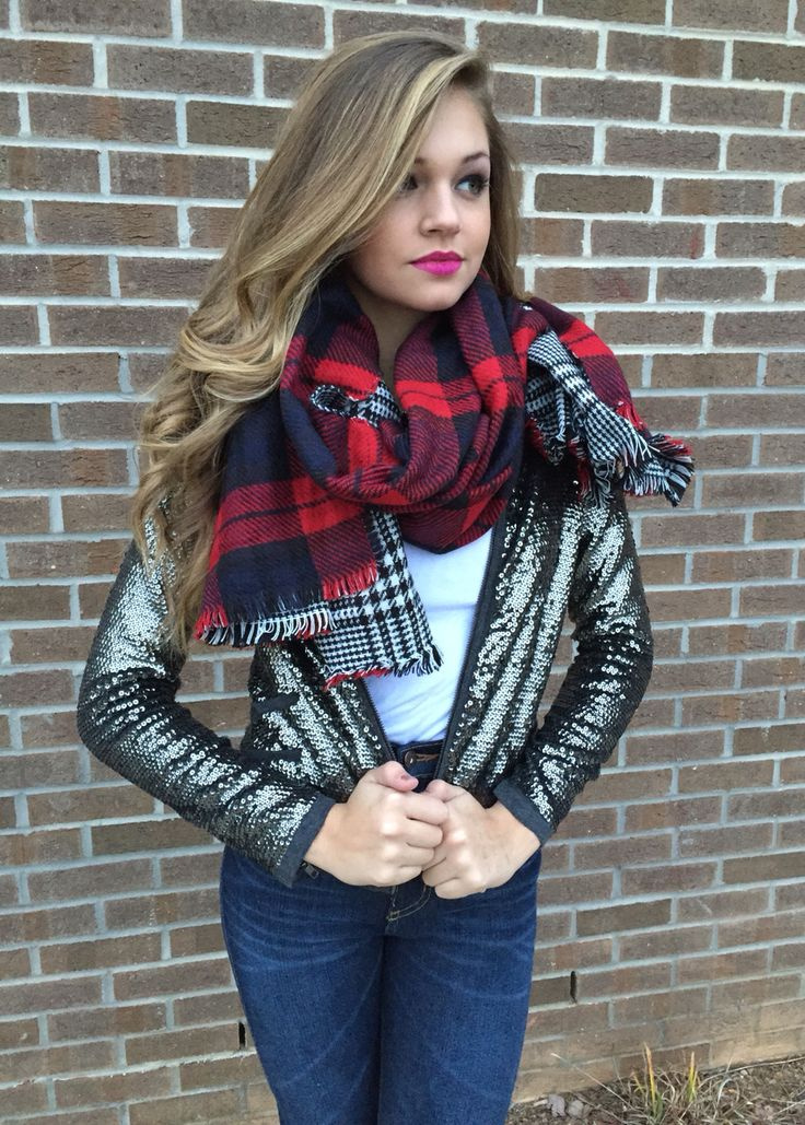 Sequin bomber jacket & plaid scarf #swoonboutique