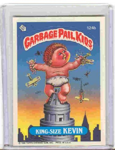 Did you collect Garbage Pail Kids?  I was all over it in middle school.  Obscure trivia fact... this particular Garbage Pail Kid cards was produced with 3 different names, where as the others only had 2.