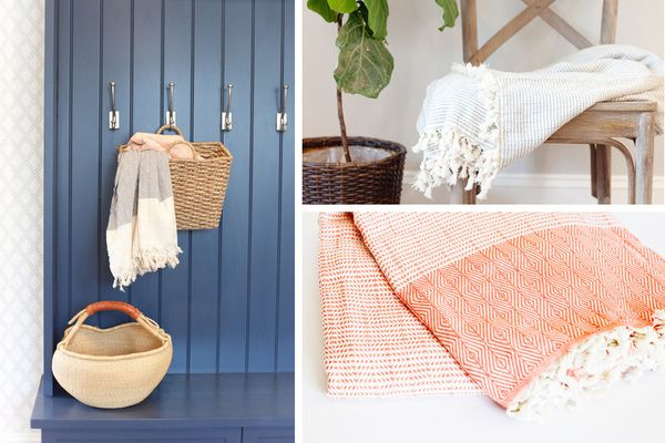 RIVI Co hand loomed Turkish blankets are 100% natural cotton. They are lightweight and perfect for snuggling on the couch, folding on the end of your bed, taking on the go for picnics and beach days, and so much more. The woven detailing is unique and gorgeous so they add a statement across any piece of furniture. The ends have fringe for extra style.