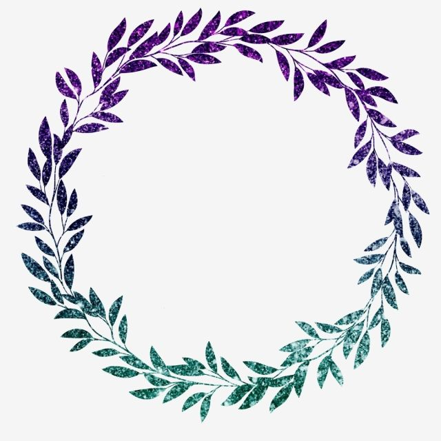 Purple Green Glitter Leaf Floral Wreath Border Wreath Clipart Luxurious Shading Png And Vector With Transparent Background For Free Download Flower Circle Glitter Leaves Floral Wreath Watercolor