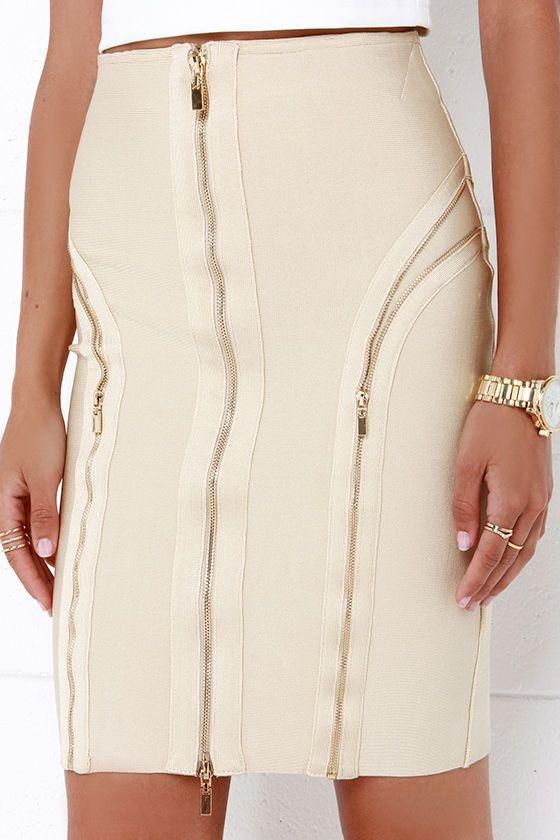 Zip It Up Beige Bandage Skirt at Lulus.com!