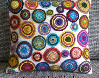 Peruvian Pillow embroidered multicolored circles Sheep by khuskuy