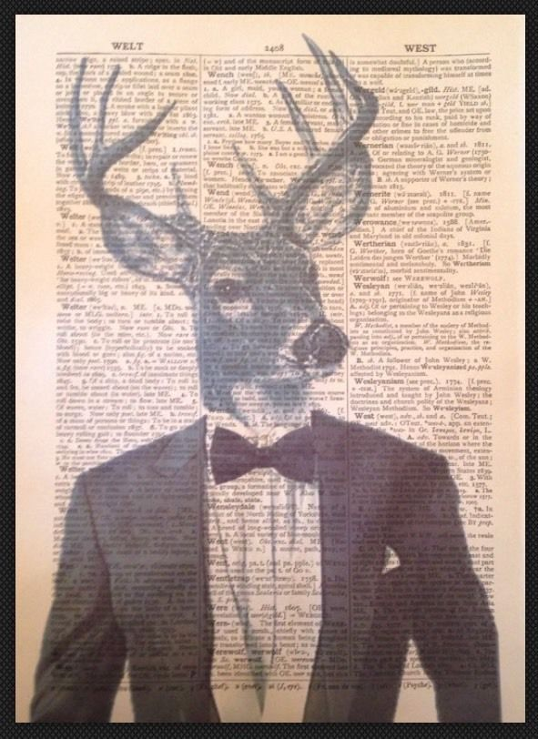 Vintage Stag Head Deer Print Dictionary Page Wall Art Picture Bow Tie Hipster