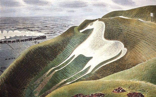 'The Westbury Horse' by Eric Ravilious, 1939, watercolour on paper