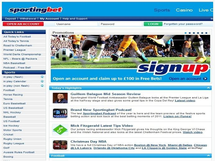 Sportingbet was founded back in 1998 and has grown to become one of the most prominent names in the industry. Formerly known as SportingOdds, SportingBet offers a wide range of markets, covering most every sporting event... http://www.latestsportsbonuses.com/sportsbooks/sportingbet/
