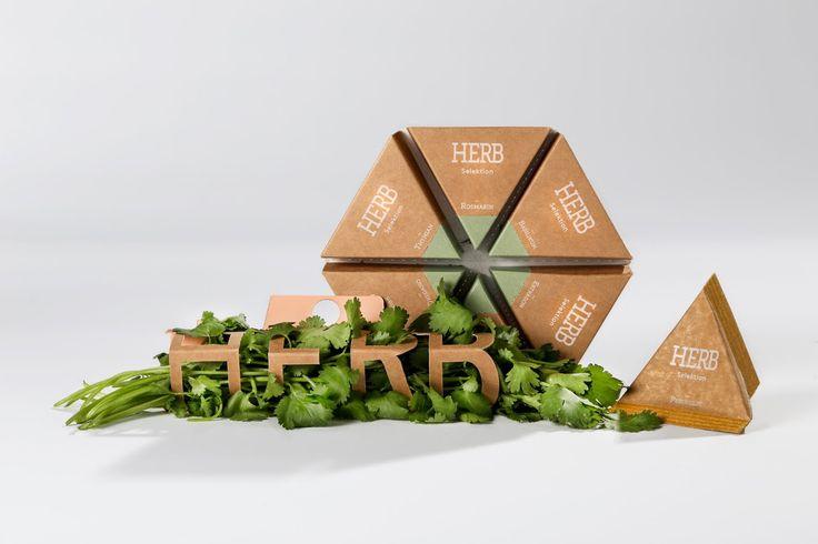 Дизайнер из Штутгарта Carolin Dufner разработала комплект упаковки для приправ: свежей зелени и высушенных трав.  Упаковка предназначена для фермеров, которые продают свои свеже сорванные или высушенные травы на рынках или в местных магазинах. HERB представлен, как бренд или товарный знак для органического земледелия и высокого качества продукции. Комплект упаковки HERB должен помочь поставщикам представить свой продукт в привлекательном виде. Комплект HERB состоит из трех различных видов…
