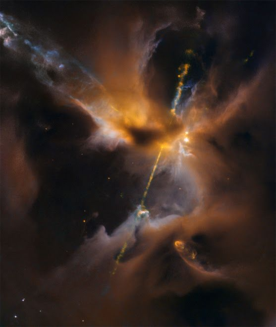 #HerbigHaro24   This might look like a double-bladed lightsaber, but these two cosmic jets actually beam outward from a newborn star in a galaxy near you. Constructed from Hubble Space Telescope image data, the stunning scene spans about half a light-year across Herbig-Haro 24 (HH 24), some 1,300 light-years or 400 parsecs away in the stellar nurseries of the Orion B molecular cloud complex.