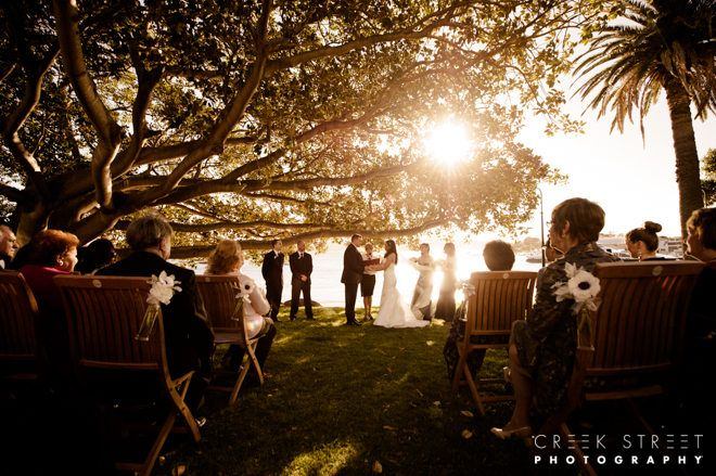 Ceremony as the suns sets on Watsons Bay | Image: Creek Street Photography