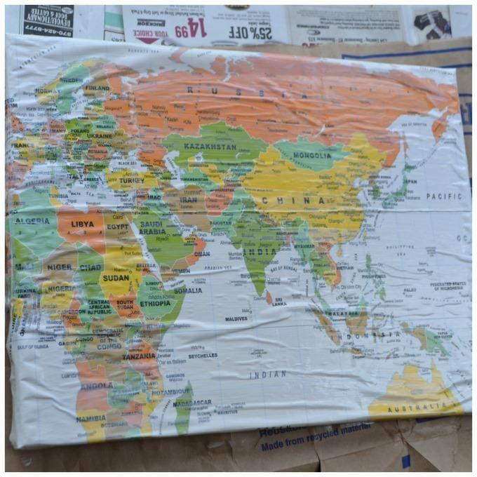 Diy tutorial diy map art diy turn maps into canvas wall art for Diy map wall art