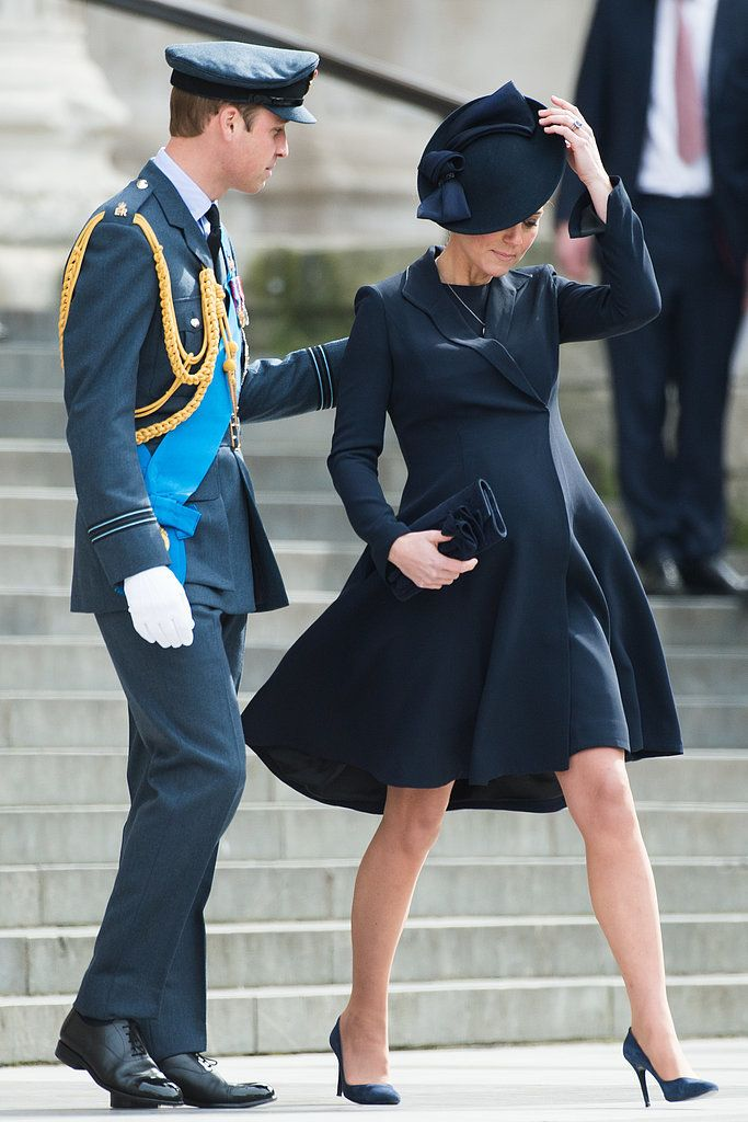Prince William helped a pregnant Kate along as they attended a March service for troops in London.         ...
