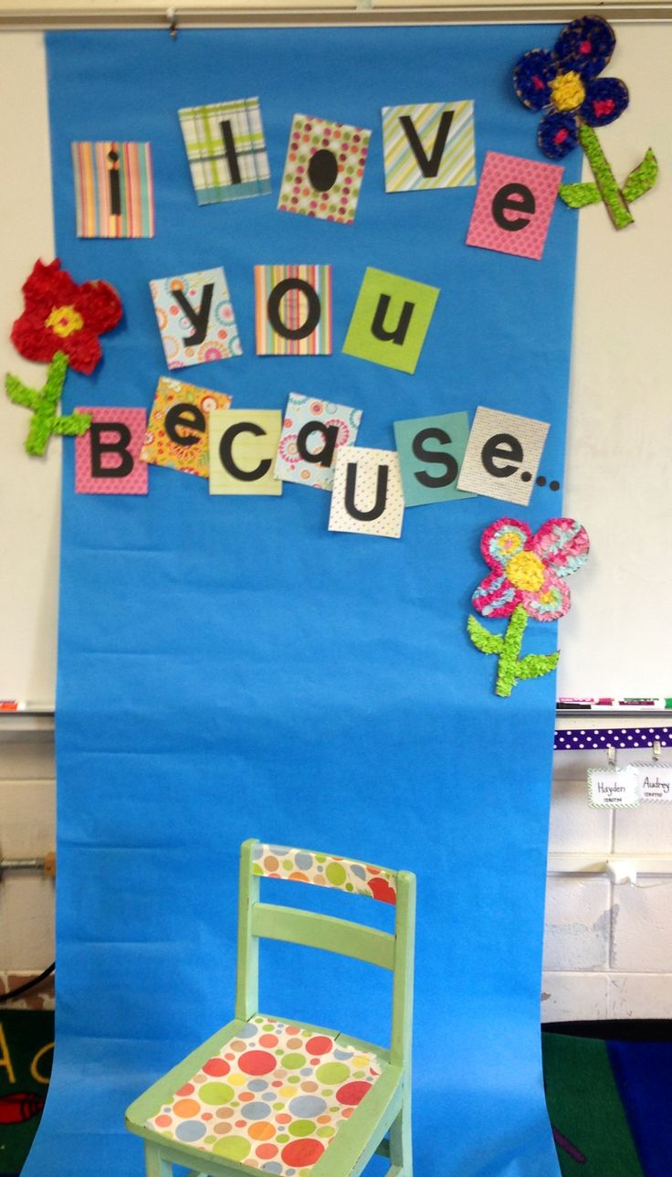 Our Mother's Day backdrop! Students held a sign saying why they loved their mother:)