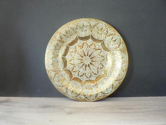 Vintage Ornate Brass Plate  Boho Wall Decor  Hammered Brass