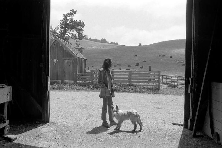 """Neil Young With His Little Dog """"Harte"""", Broken Arrow Ranch, Half Moon Bay, California, 1971 Photo by Henry Diltz"""