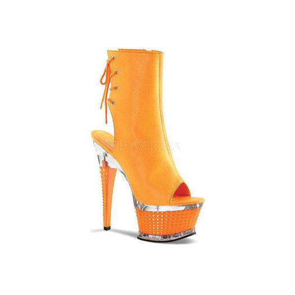 Women's Pleaser Illusion 1018UV ($51) ❤ liked on Polyvore featuring shoes, sandals, casual, high heels, orange, orange platform sandals, sexy high heel shoes, high heel platform sandals, orange high heel sandals and high heeled footwear