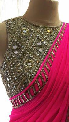 Elegant Pink Georgette Saree with Handwork Mirror blouse   Buy Online designer Sarees   Elegant Fashion Wear