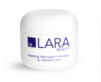 Lara Beauty Polishing Microderm Abrasion for Sensitive Skin.  This fragrance-free home spa treatment, rich in vitamins A, E and F, gently exfoliates worn and damaged skin to clear pores, remove blackheads and help prevent acne. The anti-aging, moisture-balancing properties of this polishing treatment remove imperfections, even skin tone and smooth fine lines and wrinkles. Surface cell renewal reveals fresher, more youthful-looking skin.