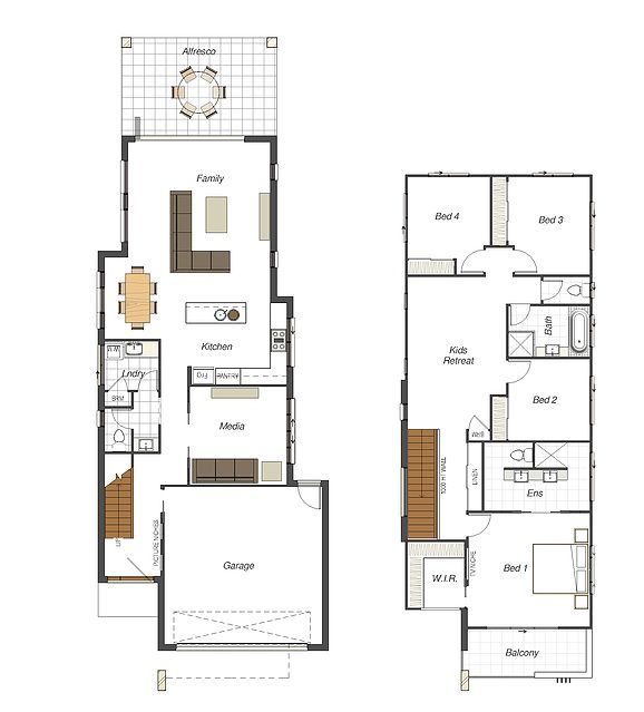 7 best modern minimalist narrow home plans images on for Skinny lot house plans