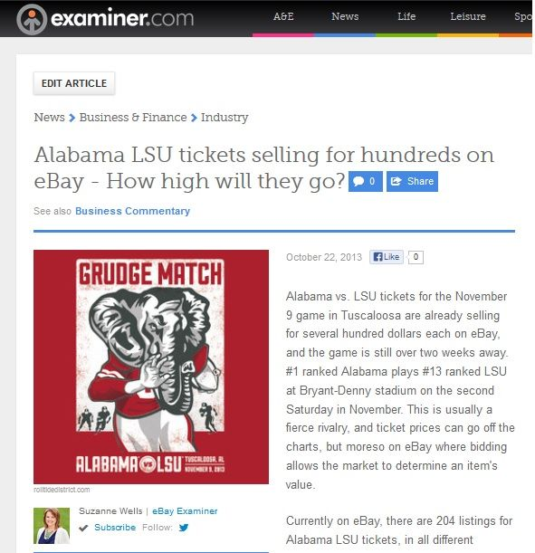 Alabama LSU tickets selling for hundreds on eBay - How high will they go?