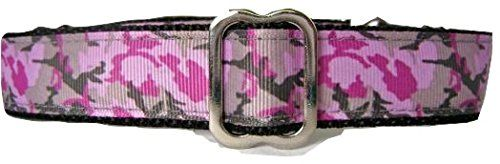 Regal Hound Designs 1 wide Martingale Dog Collar 3 Sizes: Small Medium Large/XL Pink and Grey Camo Design (Medium 13-18)