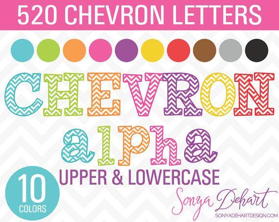 Clipart Sale Chevron Alphabet 520 Letters by SonyaDeHartDesign