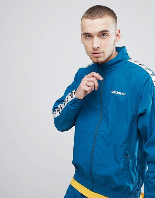 8c83ed1692c4 adidas Originals Vintage Track Jacket With Taping In Green See more   IllumiLondon