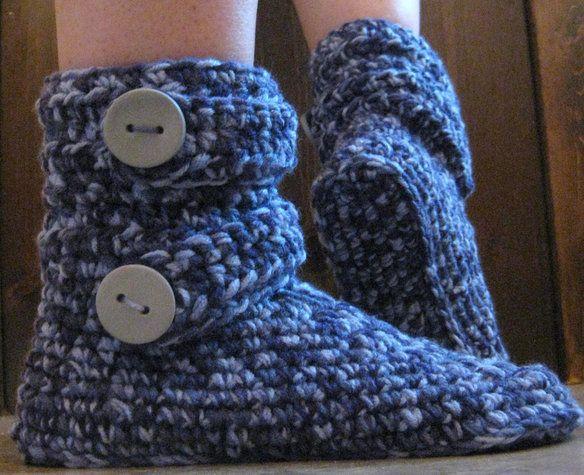 Handmade crochet boot-style slippers —