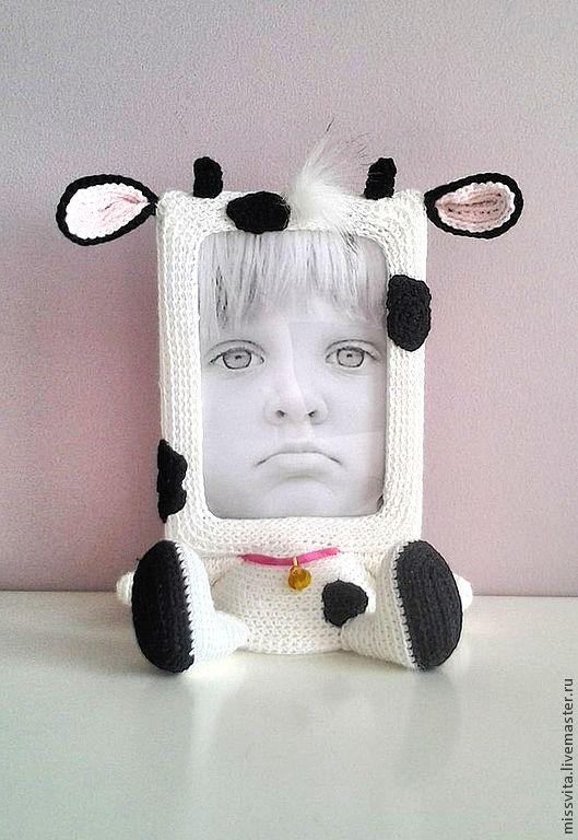 """Купить Рамка для фото """"Бычок"""" - чёрно-белый, рамка для фото, подарок девушке, для детей"""