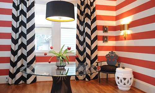 Great ideas for using stripes and love this color palette.